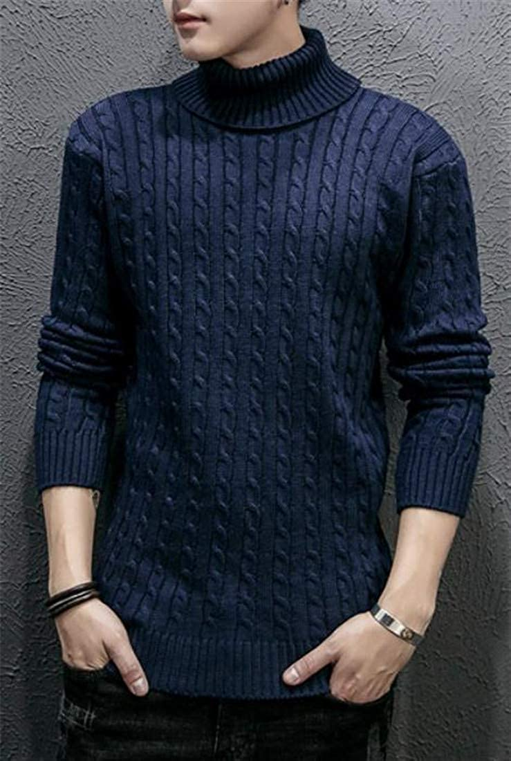 Wofupowga Men Jumper Turtleneck Autumn Winter Pullover Cable Knit Sweater