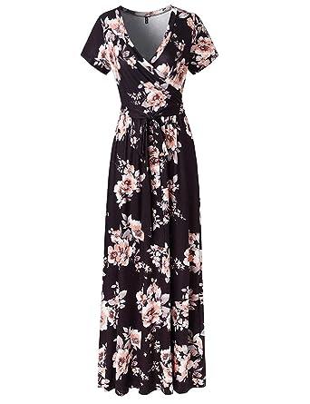 4b3fa455ca9 SEBOWEL Women s Casual Floral Print Wrap Waist Bow Belt A-line Long Maxi  Dress Black