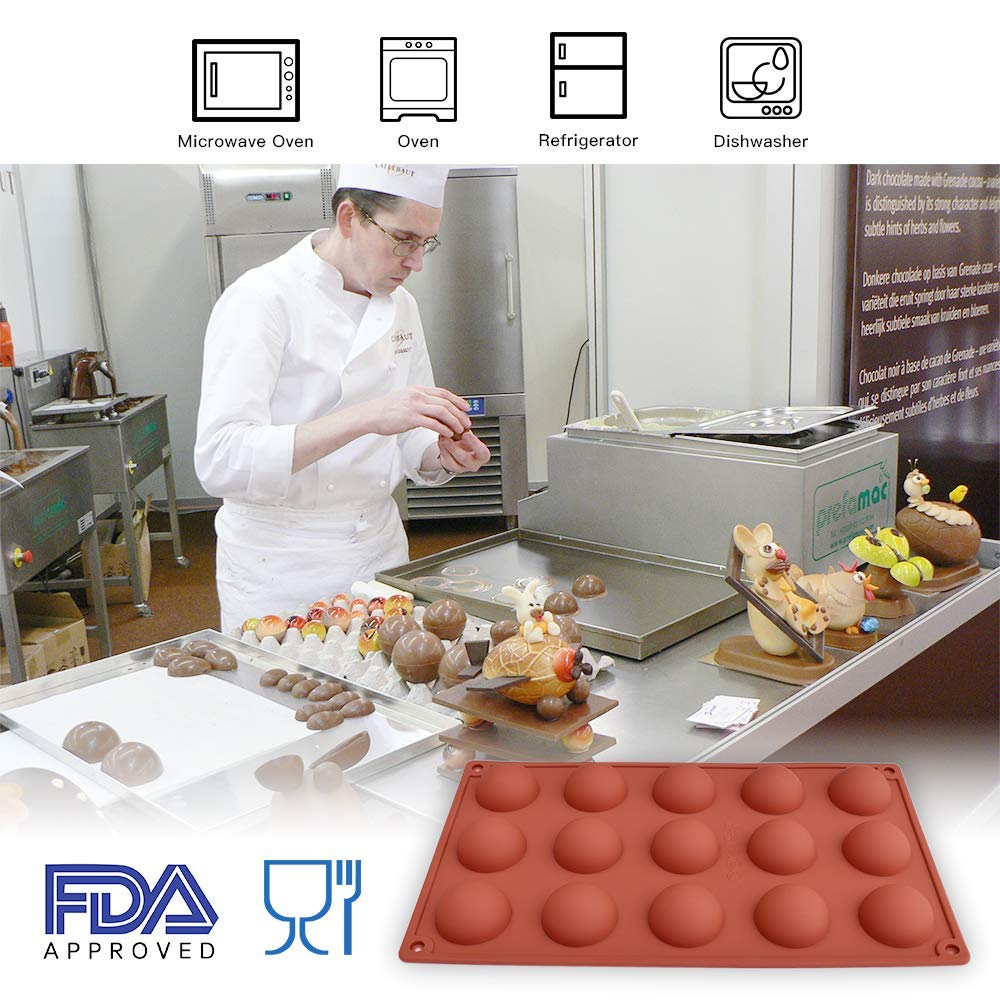Cake homEdge Small 15-Cavity Semi Sphere Silicone Mold Dome Mousse Jelly 3 Packs Baking Mold for Making Chocolate