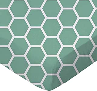 product image for SheetWorld Fitted Portable / Mini Crib Sheet - Seafoam Blue Honeycomb - Made In USA