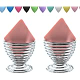 LanMa Beauty Sponge Blender Holder,(2 Pack Silver) Makeup Sponge Drying Stand Storage Egg Powder Puff Display Stand