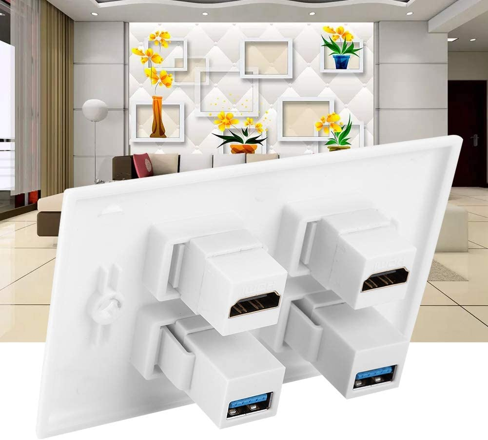 PS3//PS4 DVD Home Theater Cable Satellite 2 Port Wall Plated HDMI with 2 Port USB3.0 Wall Plate Face Cover for HDTV