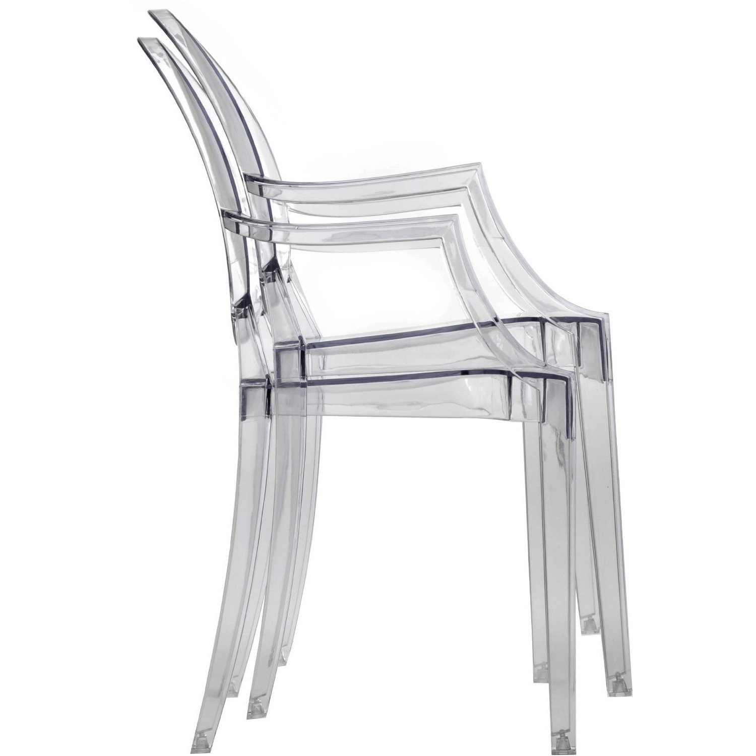 Amazon 2xhome Set of Two 2 Clear Modern Ghost Chair