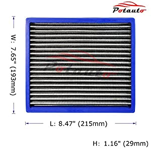 POTAUTO MAP 5001 Re-washable Cabin Air Filter Cleans Airflow for Toyota, Lexus, Subaru, Pontiac, Scion