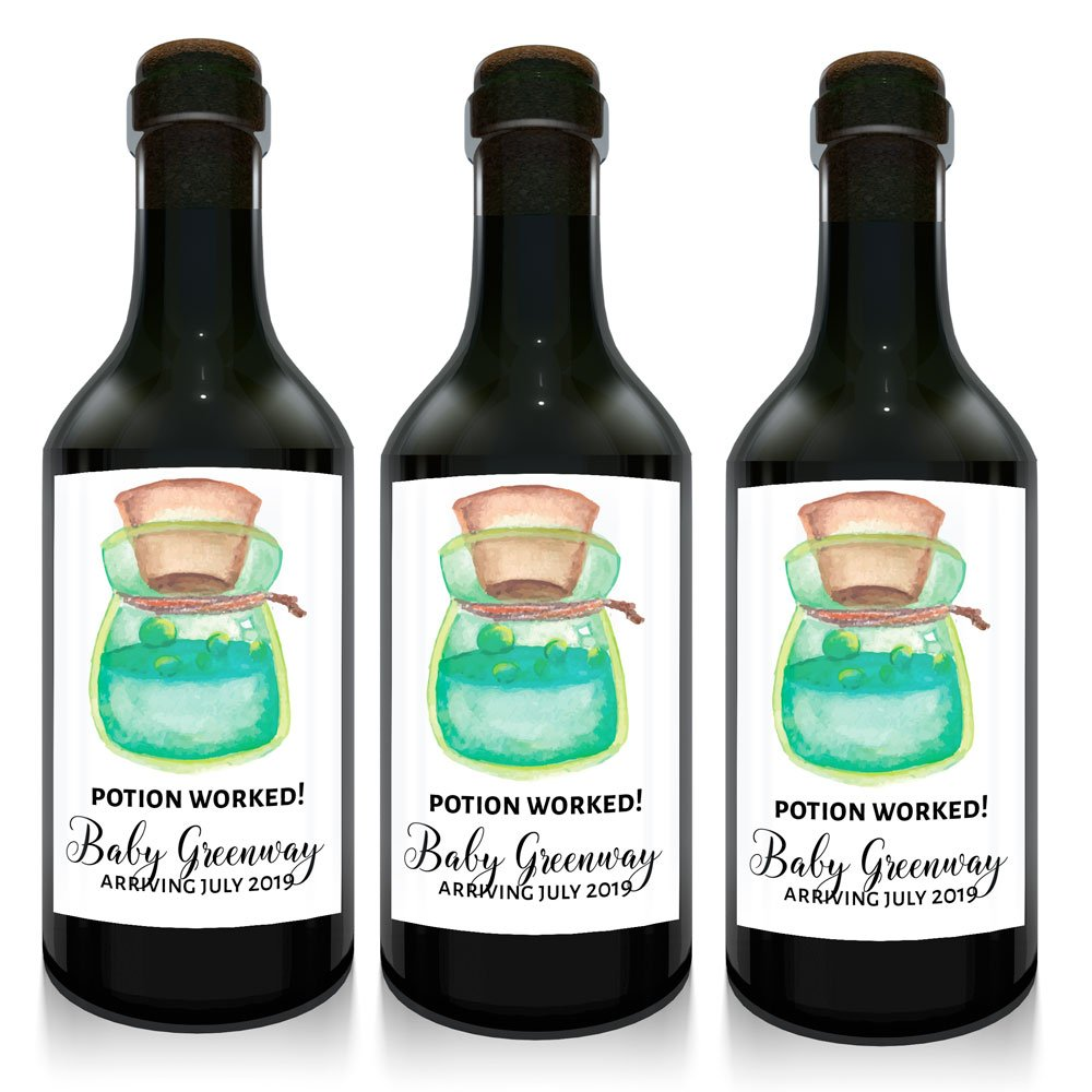 """Halloween Potion"" Mini Wine Small Bottle Custom Label Sticker for Baby Shower Party 
