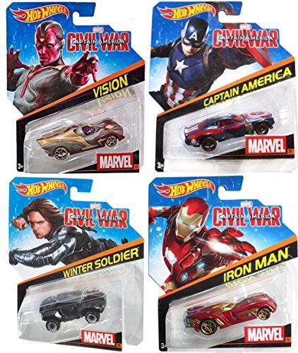 Hot Wheels Marvel Civil War 4-Pack Character Cars Captain America #29 / Winter Soldier #30 / Vision #31 / Iron Man #26 Super Hero set