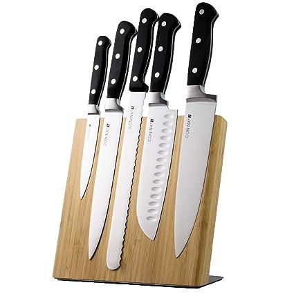 Coninx Quin Bloque Magnético de Cuchillos - Taco de Madera Bambú - 23 x 22 x 12 cm – Imán de neodimio muy fuerte – Ustensilios de Cocina - ...