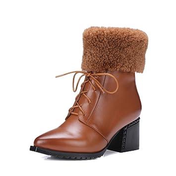 XIE Tacón Alto Europeos y Americanos Botas para la Nieve de Invierno Zapatos de Cuero de
