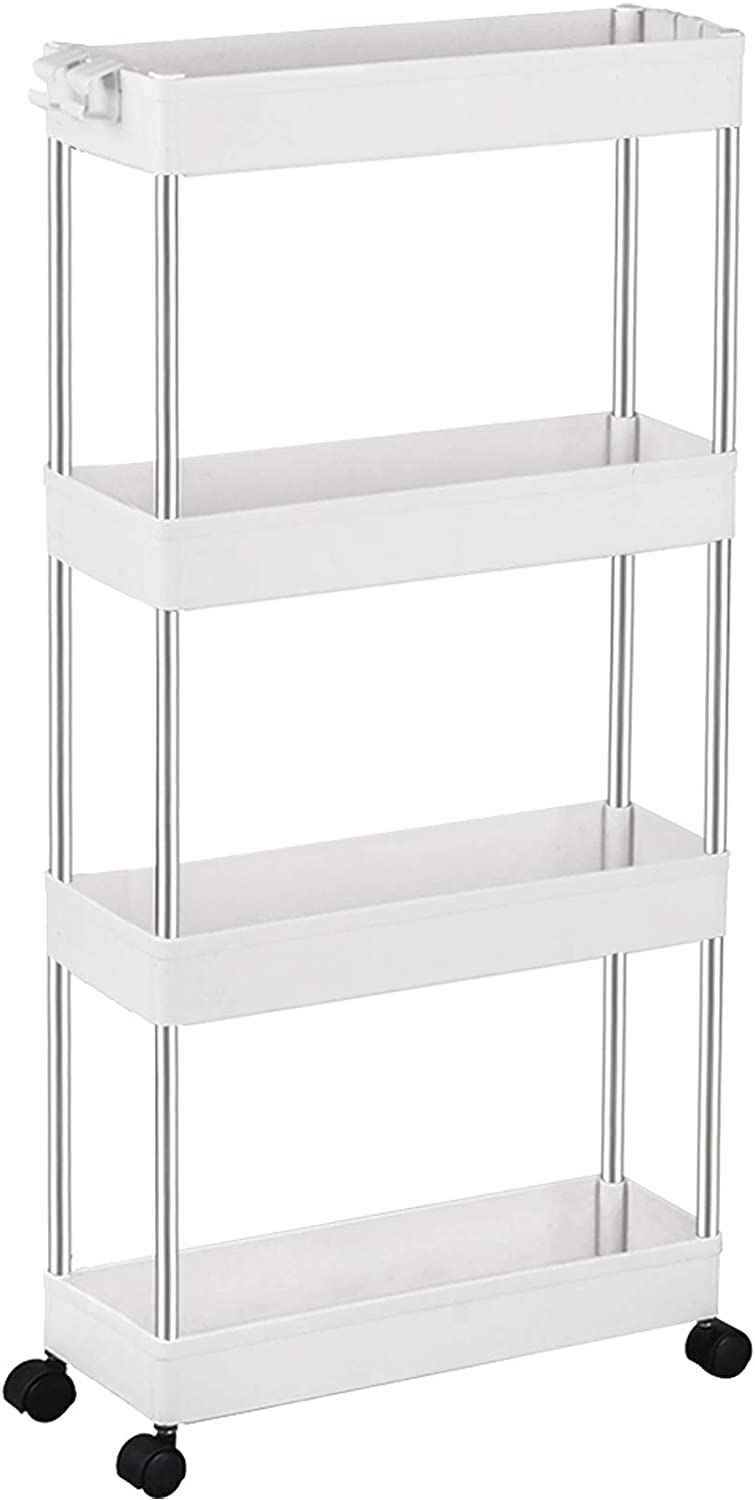 SPACEKEEPER Storage Trolley 4-Tier Slim Storage Cart Slide Out Rolling Utility Cart Mobile Shelving Unit Trolley Organizer Cart for Kitchen Bathroom Laundry Office, Plastic & Stainless Steel, White