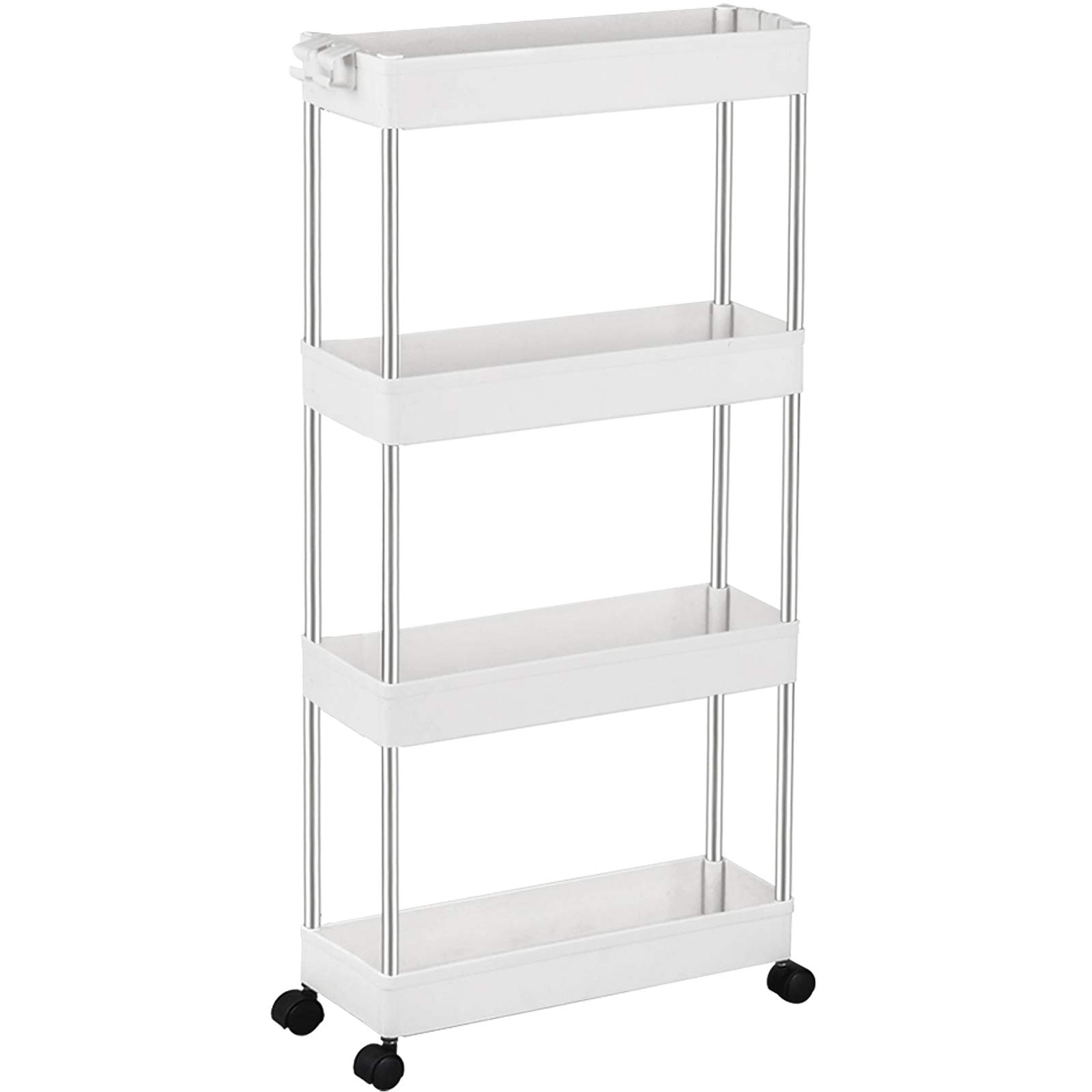 Spacekeeper Storage Trolley 4 Tier Slim Storage Cart Slide Out Rolling Utility Cart Mobile Shelving Unit Trolley Organizer Cart For Kitchen Bathroom Laundry Office Plastic Stainless Steel White Buy Online In Bahamas