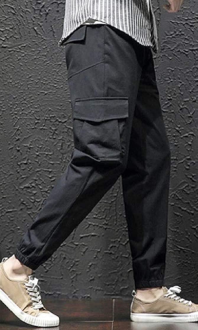 Joe Wenko Men Rugged Multi Pocket Casual Sport Elastic Waist Cargo Jogger Pants