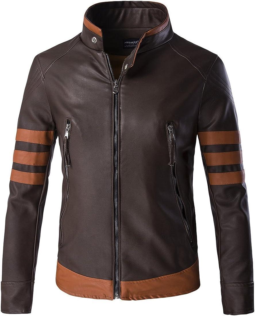 GLESTORE Chaqueta de Cuero para Hombre Motorista de Moda Logans S-XXXL