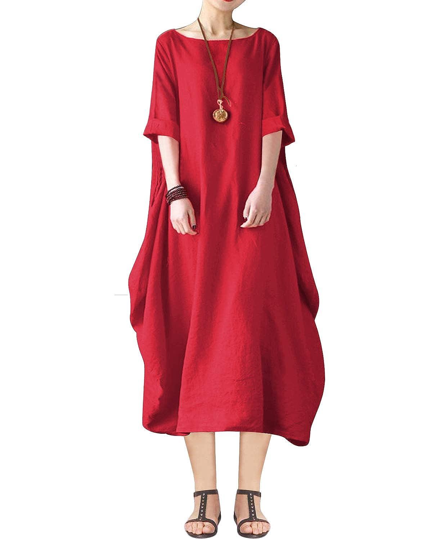 BIUBIU Women's Plus Size Linen Cotton Striped Tunic Batwing Kaftans Maxi Dress S-5XL BIUBIUF6E0D375