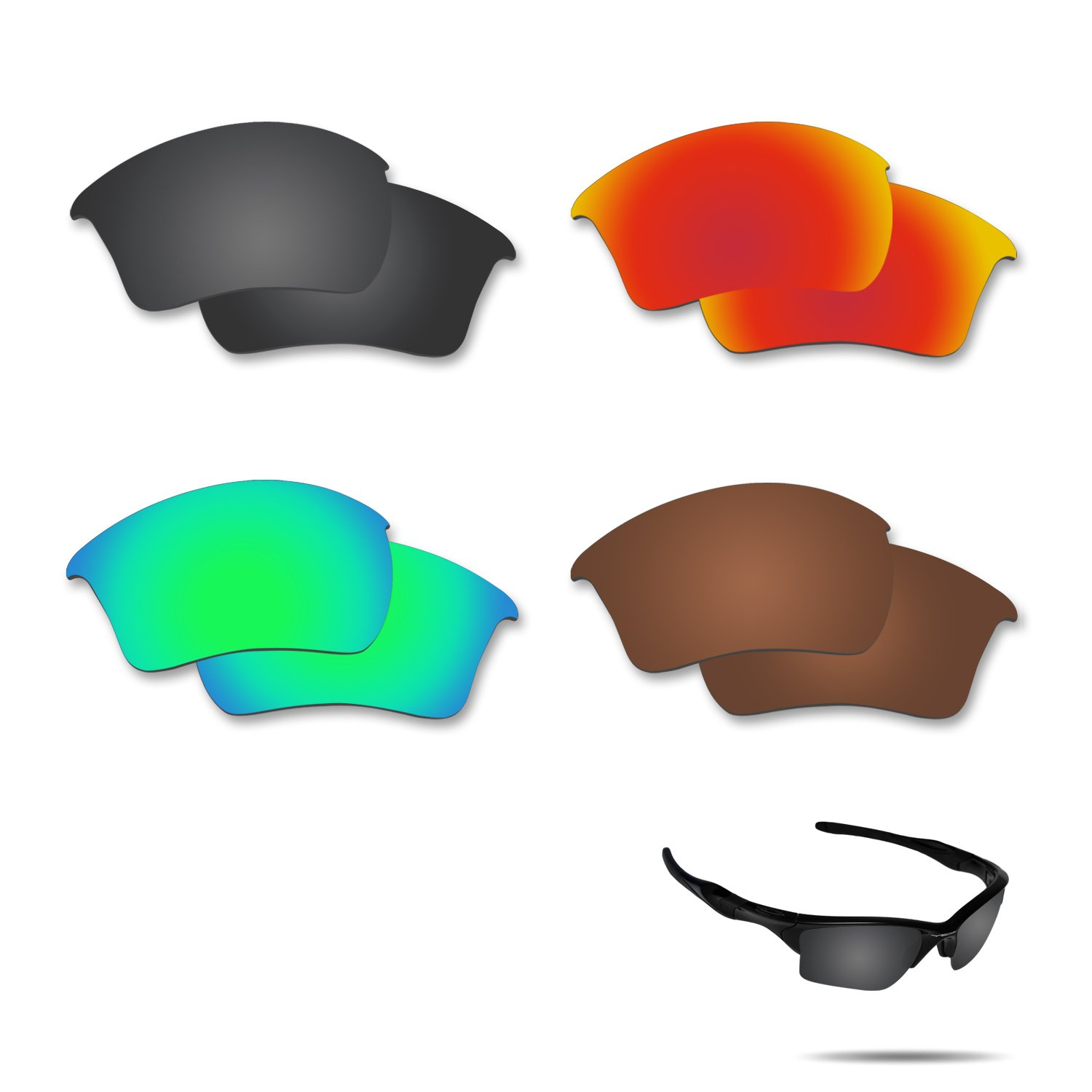 Fiskr Anti-saltwater Polarized Replacement Lenses for Oakley Half Jacket 2.0 XL Sunglasses 4 Pairs