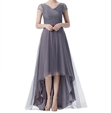 e7c424b2fde Beaded Cap Sleeves High Low Tulle Mother of The Bride Dresses at ...