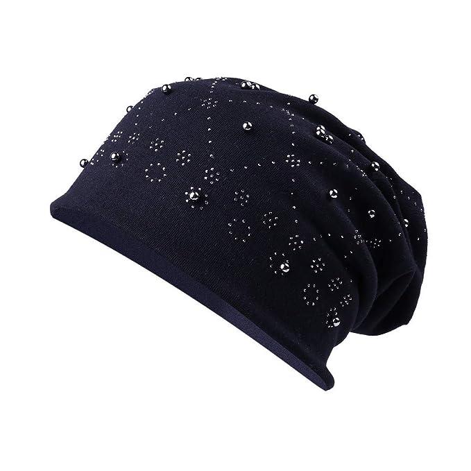 Dwevkeful Turbantes para Mujer Cancer, Pañuelo Gorro Peruano Decoración Perla SóLido Talla única para Càncer Chemo Oncológico Pèrdida de Pelo Cabello Gorras ...