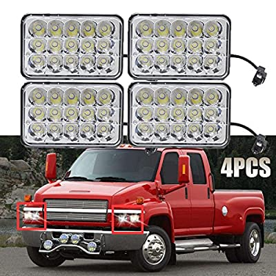 LED Headlights 4x6 Sealed Beam Housing Bulb for For Chevrolet Kodiak C4500 and C5500 2003-2009 Models, H4656 H4 Conversion High Low Dual Beam Fog Main Lights (Package of 4)