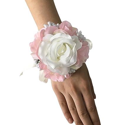 Amazon Faybox Wedding Prom Ivory Pink Silk Flower Wrist Corsage
