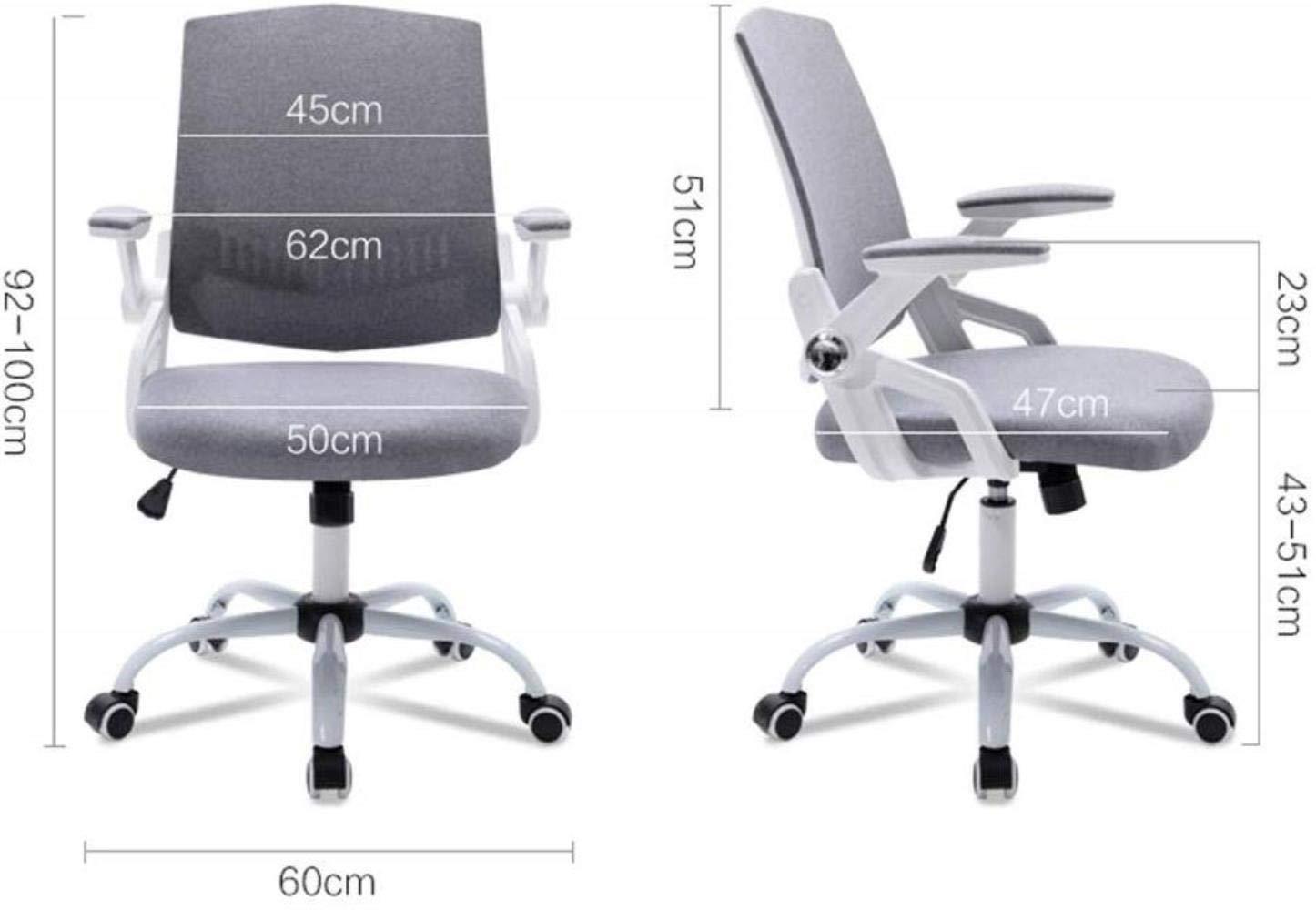 Xiuyun kontorsstol spelstol svängbar stol, studentstol, arbetsstol, skrivbord stol, datorstol, ryggstödstol, företagsstolar (färg: Rosa) Grått