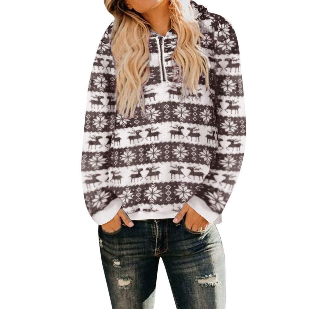 VEMOW Weihnachten Frauen Sweatshirt Herbst Heißer Casual Daily Party Sport Freizeit Reißverschluss Punkte Drucken Tops Mit Kapuze Pullover Bluse T-Shirt VEMOW Women