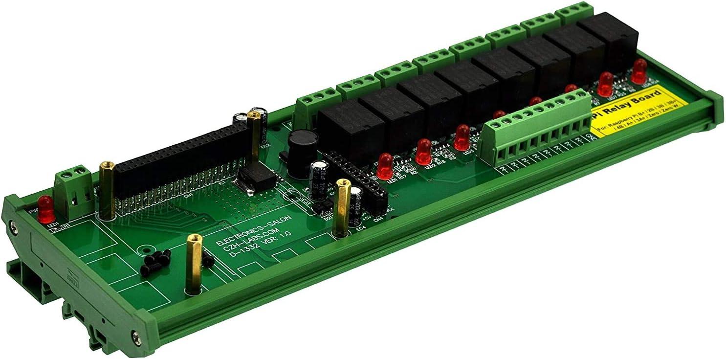 M/ódulo de rel/é de alimentaci/ón para Raspberry Pi de 8 carriles DIN SPDT IoT