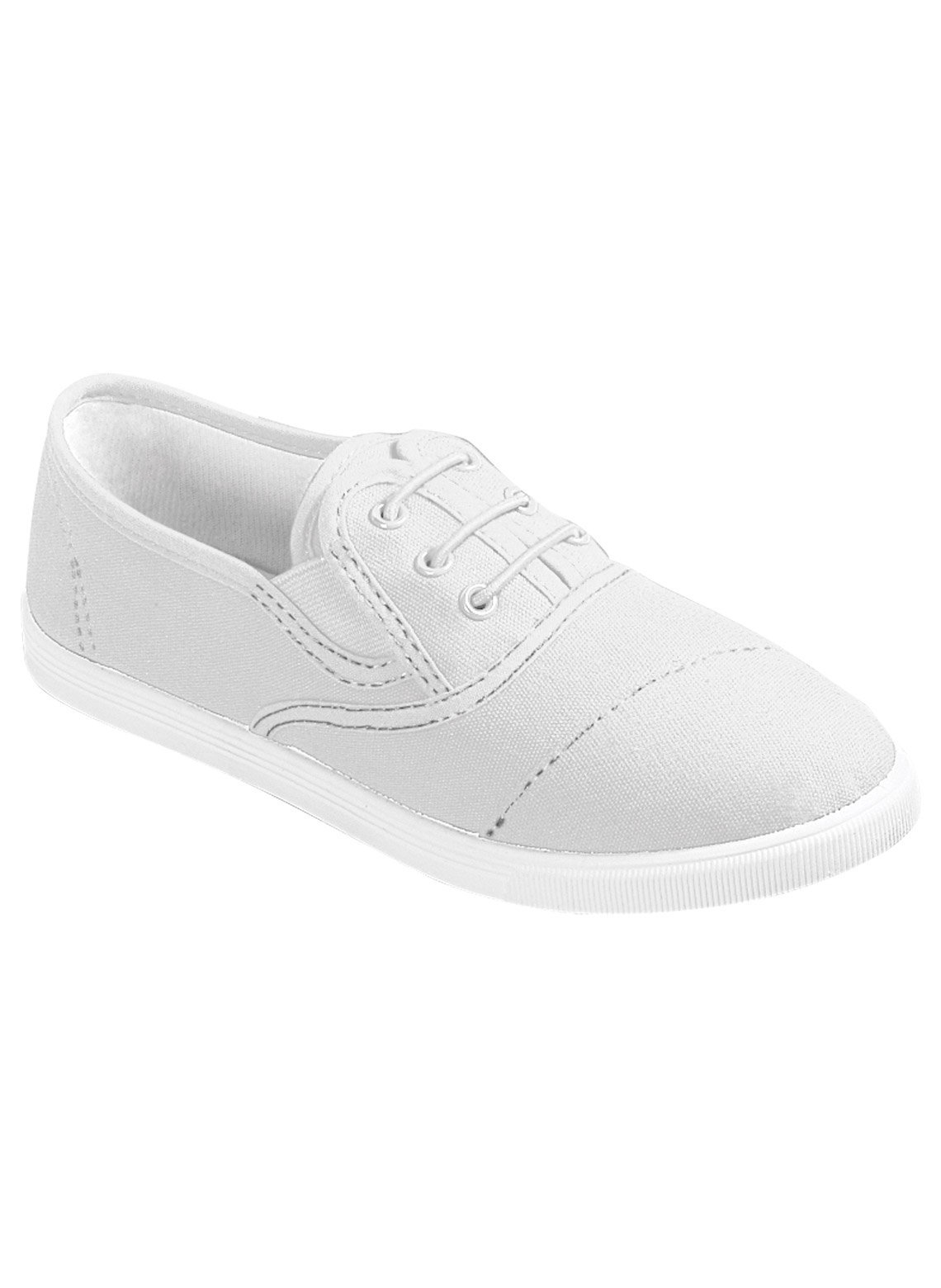 Carol Wright Gifts No-Tie Sneaker, White, Size 8 (Wide)