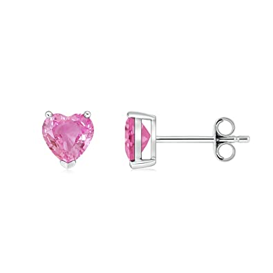 Angara Pink Sapphire Solitaire Heart Earrings in Platinum 3N5Af