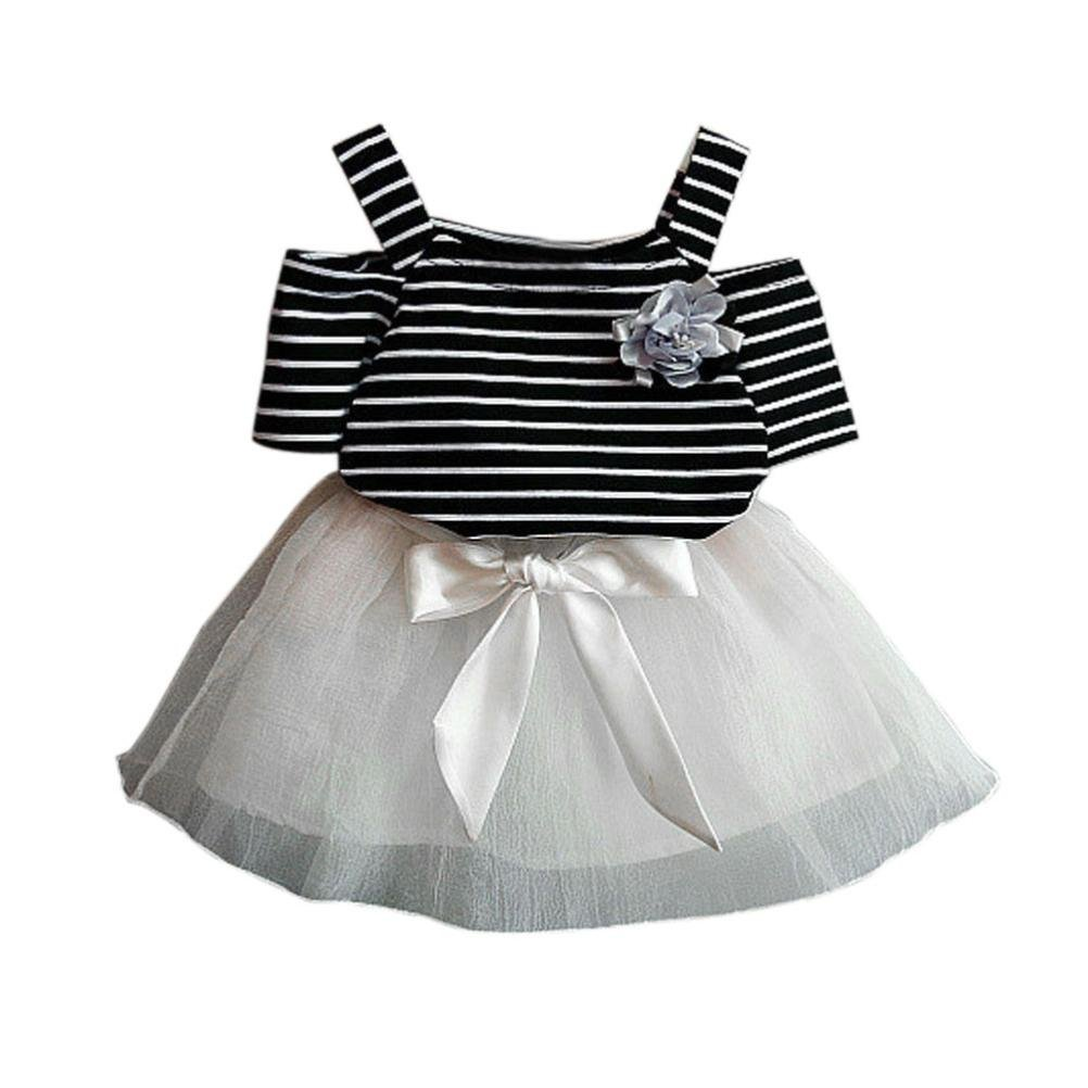 023feb78 ... for 2-7 Years Old Girls Clothes Set,Toddler Baby Kids Floral Striped  Short-Sleeve T-Shirt +Bowknot Short Skirt Set Girls Outfits Clothes: Amazon. co.uk: ...
