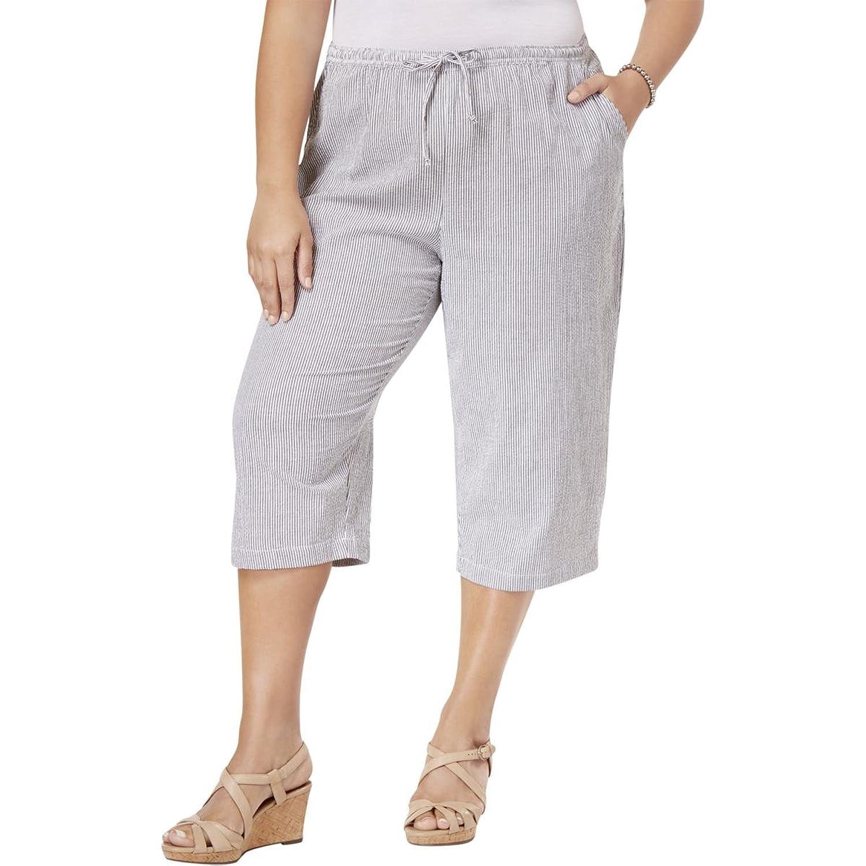 Karen Scott Womens Plus Seersucker Pinstripe Lounge Pants