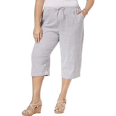 ff1e700694 Karen Scott Womens Plus Cotton Crop Capri Pants Gray 3X at Amazon ...