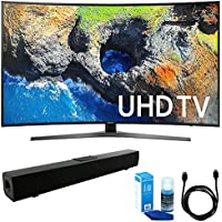 Samsung UN65MU7500 Curved 65 4K Ultra HD Smart LED TV (2017 Model) w/ Sound Bar Bundle Includes, Solo X3 Bluetooth Home Theater Sound Bar, 6ft HDMI Cable and LED TV Screen Cleaner