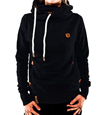 Les umes Womens Fleece Lined Thick High Cowl Neck Hooded Drawstring Warm  Hoodies Hoody Pullover Sweatshirt  Amazon.co.uk  Clothing 48ac10b39