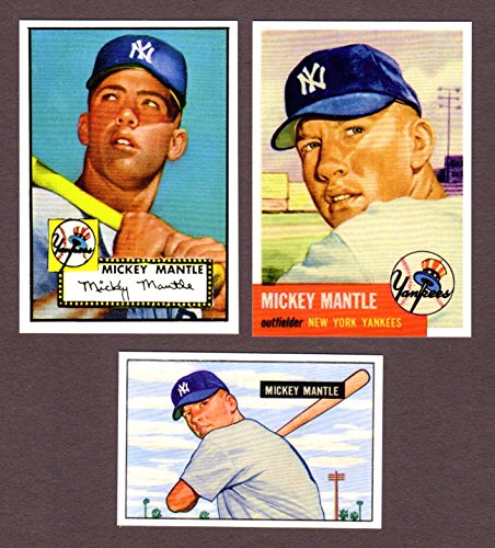Mickey Mantle 1951 Bowman Rookie, 1952 and 1953 Topps Baseball Reprint (3) Card Lot W/ Original Back and Original Card Size (New York - Finest Card 2003 Topps