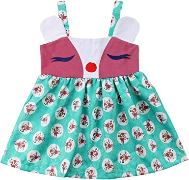 Christmas Baby Girl Dress Toddler Kids Strap Cartoon Dress Xmas Party Clothes Dresses