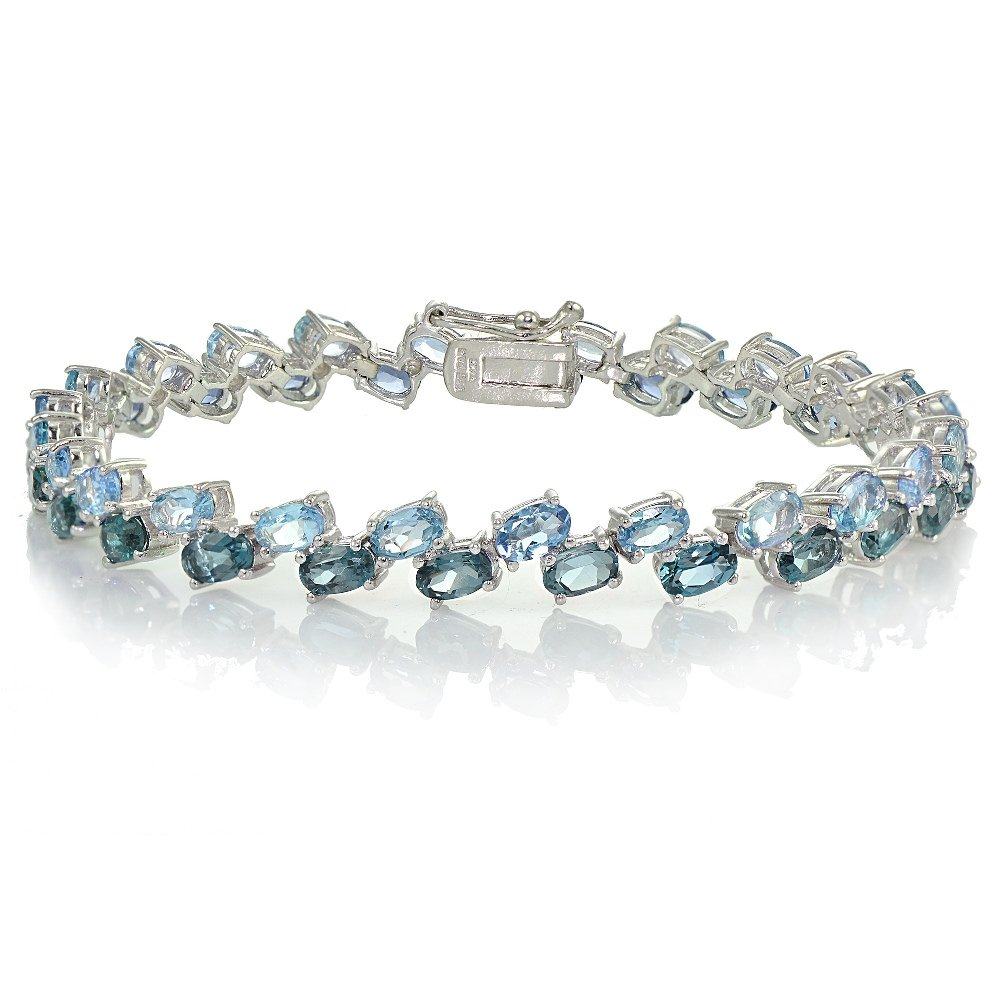Sterling Silver London Blue Topaz and Blue Topaz 2-Row Bracelet