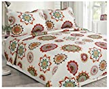Elegant Home Multicolor Exotic Look With Geometric Patterns Accented With Floral Designs Green Black Brown 3 Piece Modern Coverlet Bedspread Quilt King Size # 2117