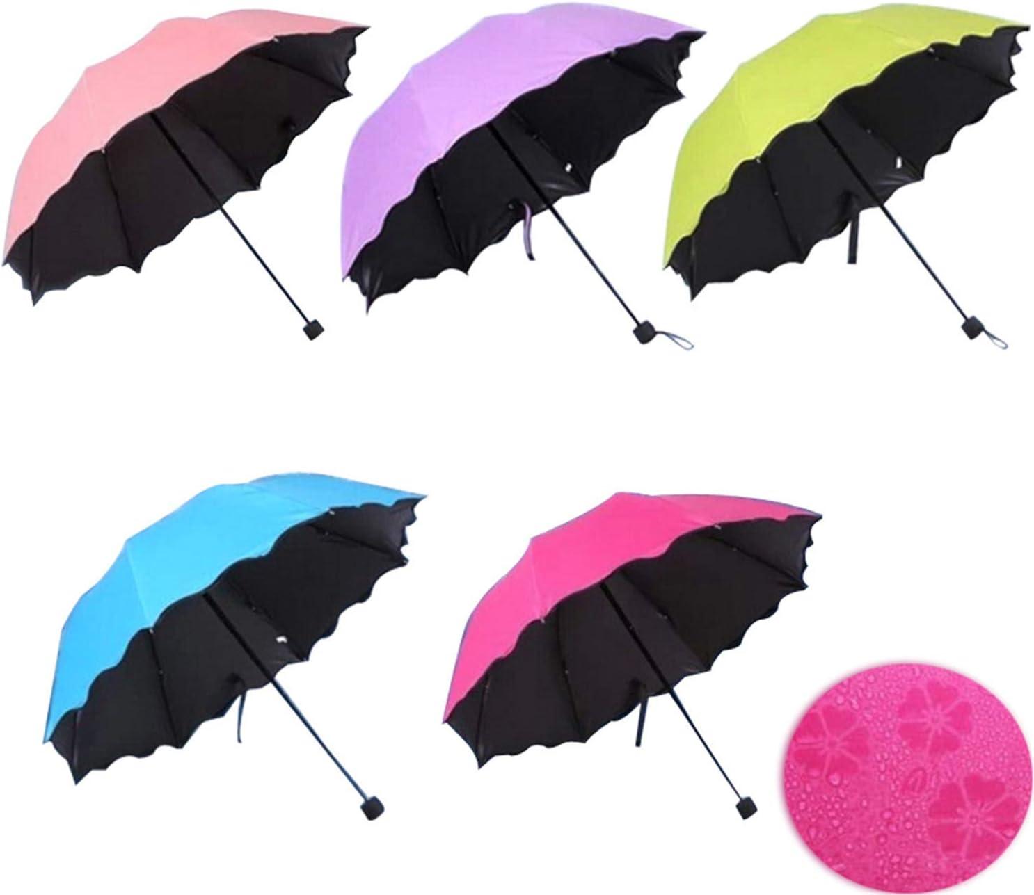 New Lady Princess Magic Flowers Dome Parasol Sun//Rain Folding Umbrella prain purple
