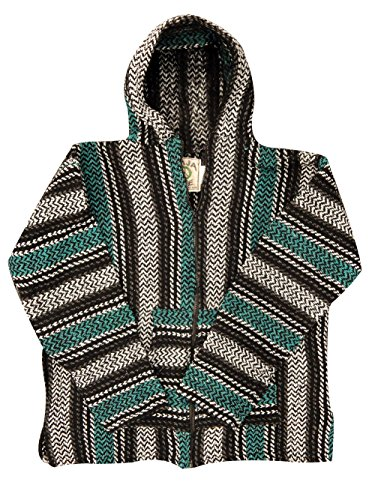 Baja Hoodie Joe - Officially Licensed Striped Woven Eco-Friendly Kids Zip-Up (Medium, Teal) (Cheap Mexican Ponchos)