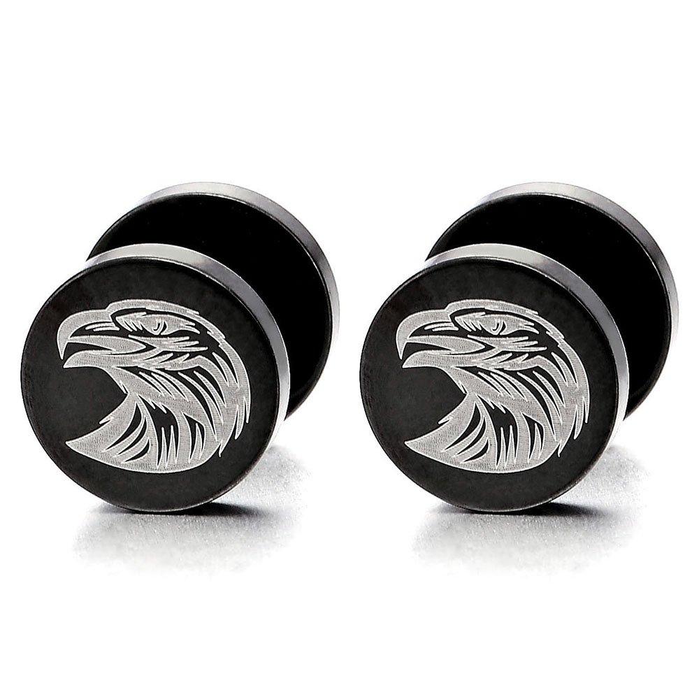 2pcs Mens Womens Black Eagle Steel Stud Earrings, Screw Back Illusion Tunnel Plug, Rock Punk Hipster COOLSTEELANDBEYOND ME-747-CA