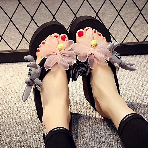 Flops JULY Summer Sandals Bunny Holiday Outdoor Non Women's Slipper Beach Handmade Skid Black T Flip 4SXIqId