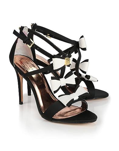 e345e5d59e39 Ted Baker Women s Appolini Triple Bow Detail Heeled Sandals - Black White -  6