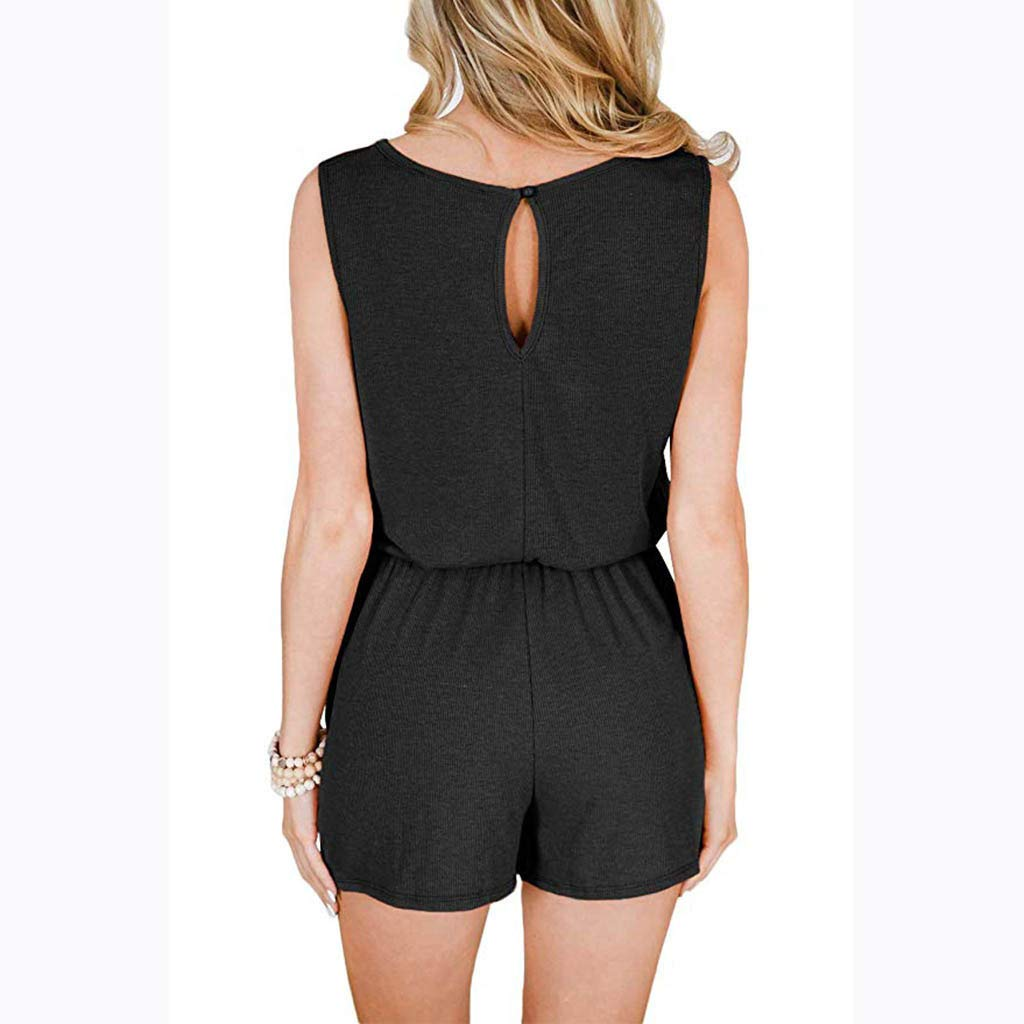 KYLEON Womens Jumpsuits Sleeveless Bandage Solid Girls Summer Party Casual Shorts Rompers Outfits Playsuit with Pockets