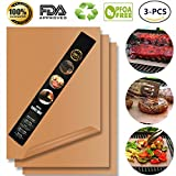 Copper Grill Mat,Non Stick BBQ Baking Mat Set of 3 Reusable,Easy to Clean PTFE Teflon Fiber Grill Roast Sheets for Gas, Charcoal, Electric Grill (Gold)