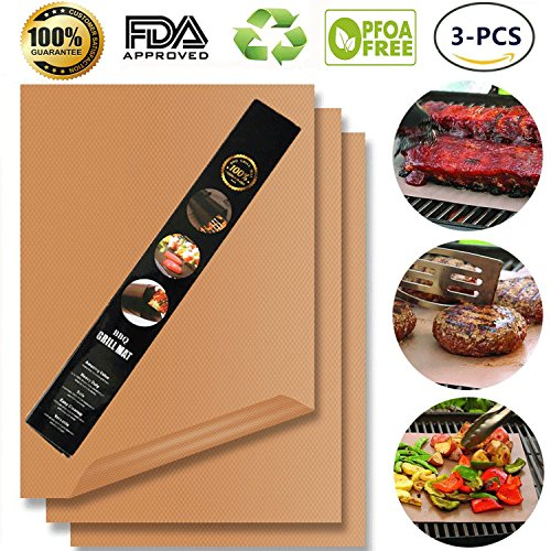 Chef Secret 7 Piece (Copper Grill Mat,Non Stick BBQ Baking Mat Set of 3 Reusable,Easy to Clean PTFE Teflon Fiber Grill Roast Sheets for Gas, Charcoal, Electric Grill (Gold))
