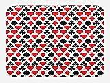 Lunarable Casino Bath Mat, Card Suits Pattern with Clubs Diamond Shapes Hearts Spades Poker Gamble Theme, Plush Bathroom Decor Mat with Non Slip Backing, 29.5 W X 17.5 W Inches, Vermilion Black