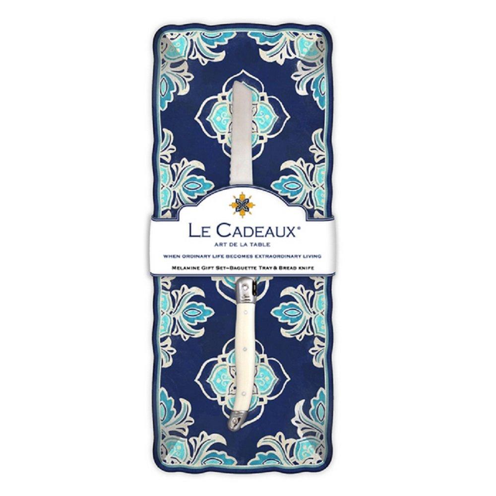 Le Cadeaux Havana Melamine Baguette Tray and Laguiole Bread Knife Gift Set, Blue