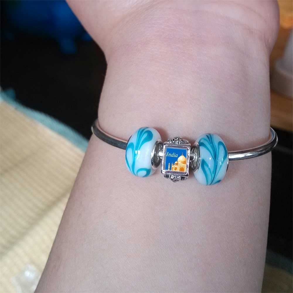 GiftJewelryShop Silver Plated Travel Taj Mahal India Photo Black Crystal Flower Charm Beads European Bracelets Compatible