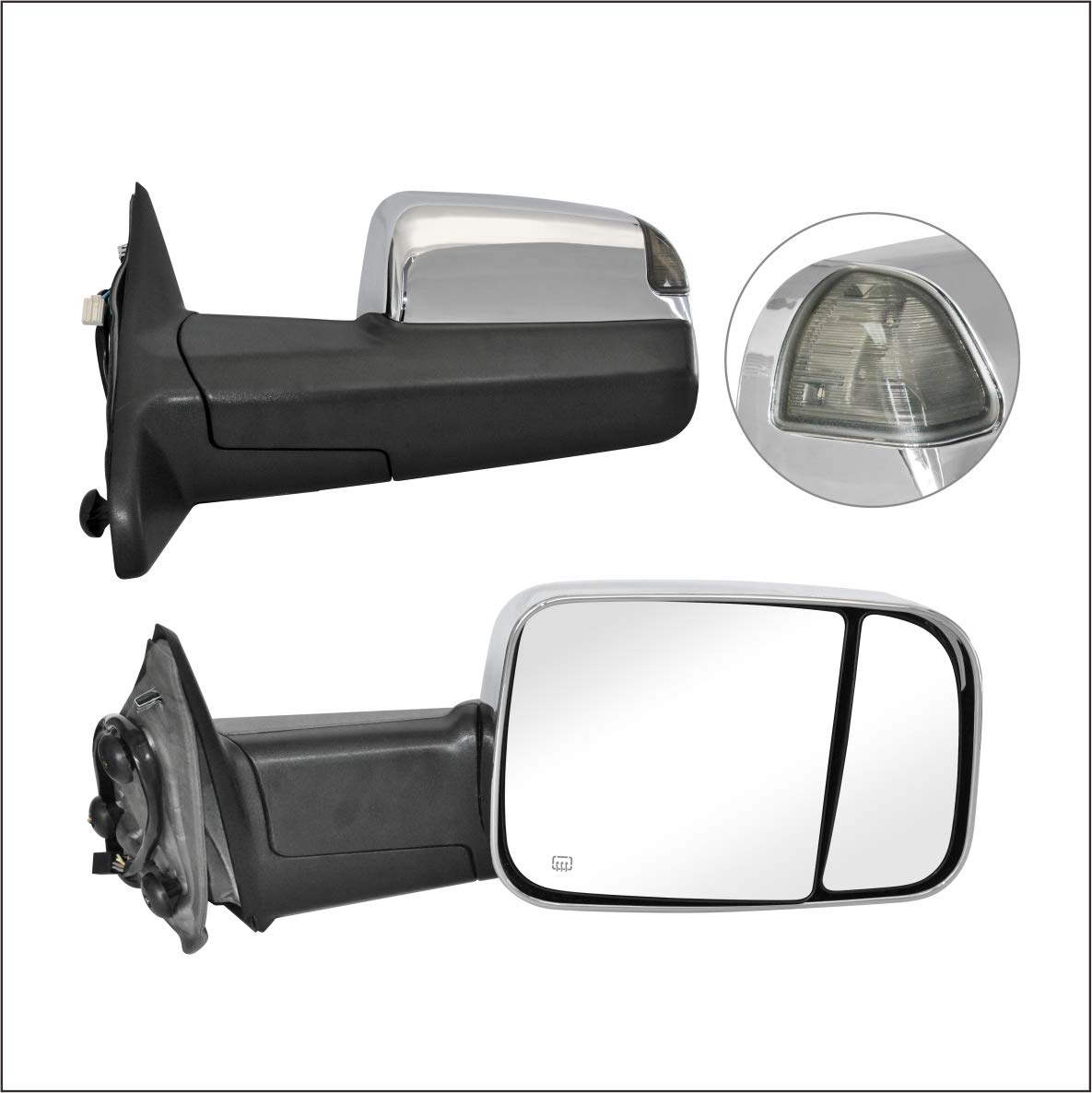 Perfit Zone TOWING MIRROR Replacement Fit For 2009-2010 DODGE RAM PAIR POWERED With HEATED With SMOKE SIGNAL With TEMPERATURE SENSOR With PUDDLE LIGHT-CHROME