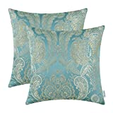 Pack of 2, CaliTime Supersoft Throw Pillow Covers Cases for Couch Sofa Home Decor, Vintage Damask Floral, 18 X 18 Inches, Teal