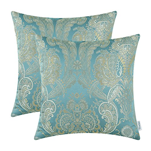 (CaliTime Pack of 2 Supersoft Throw Pillow Covers Cases for Couch Sofa Home Decor Vintage Damask Floral 18 X 18 Inches Teal)